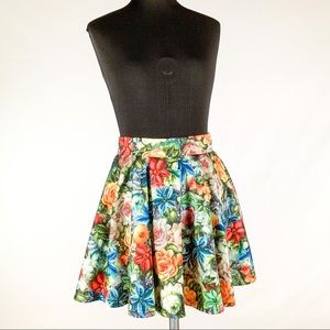 Multi Color Floral Skater Skirt with Invisible Zip